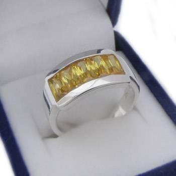 Strieborný prsteň so žltými kamienkami (KPS143)