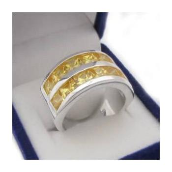 Strieborný prsteň so žltými kamienkami (KPS144)
