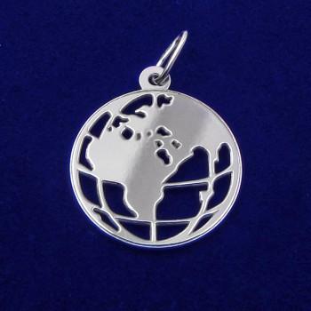 Prívesok mapa sveta - strieborný (KPRS159)